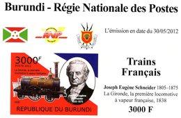 Burundi  -  Trains Francais  -   Joseph Eugène Schneider  -  La Gironde  -   1v Feuillet  Neuf/Mint Imperf - Actores