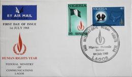 Enveloppe 1er Jour NIGERIA - Année Des Droits De L'Homme - Daté Lagos 1er Juillet 1968 - TBE - Nigeria (1961-...)