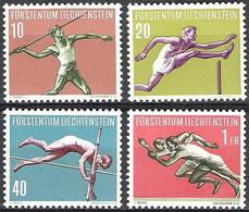 Liechtenstein 1956: Sport III (Leichtathletik) Zu 286-289 Mi 342-345 Yv  304-307 ** MNH (Zu CHF 30.00) - Liechtenstein