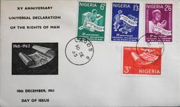 Enveloppe 1er Jour NIGERIA - Déclaration Universelle Des Droits De L'Homme - Daté Lagos 10 Décembre 1963 - TBE - Nigeria (1961-...)
