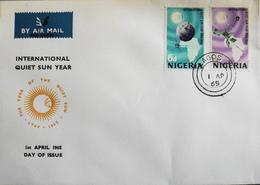 Enveloppe 1er Jour NIGERIA - Année Internationale Du Soleil Tranquille - Daté Lagos 1er Avril 1965 - TBE - Nigeria (1961-...)