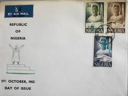Enveloppe 1er Jour NIGERIA - République Du Nigeria - Daté Lagos 1er Octobre 1963 - TBE - Nigeria (1961-...)