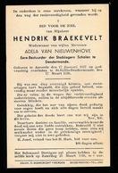 HENDRIK BRAEKEVELT AARSELE  1857  ST GILLES DENDERMONDE 1936 - Décès