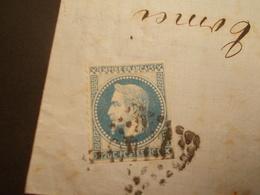 Très RARE - Marcophilie Timbre N°29 II Dentelé 1 Côté + Piquage à Cheval - 1867 - (2142) - 1849-1876: Période Classique