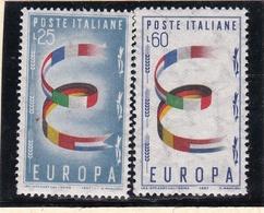 1957 Italia Repubblica EUROPA CEPT EUROPE  Serie Di 2v. MNH** - 1957