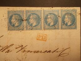 Assez RARE - Marcophilie Timbre N°29 II Bande De 4 à Destination ITALIE - 1870 - (2144) - 1849-1876: Période Classique