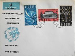 Enveloppe 1er Jour NIGERIA - Conférence Parlementaire Du Commonwealth - Daté Lagos 5 Novembre 1962 - TBE - Nigeria (1961-...)