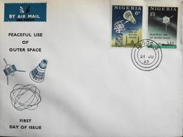Enveloppe 1er Jour NIGERIA - Utilisation Pacifique De L'Espace Extra-Atmosphérique - Daté Lagos 21 Juillet 1963 - TBE - Nigeria (1961-...)