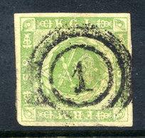 DENMARK 1857 8 Sk. Green Used  SG 12,  Michel 5 - 1851-63 (Frederik VII)