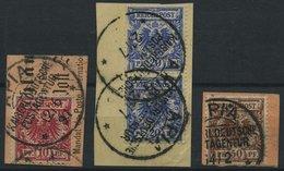 SAMOA V 47/8,50d BrfStk, 1890, 10, 20 Und 50 Pf. Krone/Adler, Stempel APIA KDPAG, 3 Briefstücke, Meist Pracht - Kolonie: Samoa