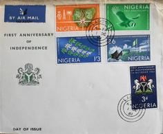 Enveloppe 1er Jour NIGERIA - 1er Anniversaire De L'Indépendance - Daté Lagos 1er Octobre 1961 - BE - Nigeria (1961-...)