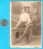 K.u.K. AUSTRIA-HUNGARY NAVY SAILOR - TRIESTE ( Italy ) Vintage Cabinet Photo * KuK Kriegsmarine Marine Österreich-Ungarn - 1914-18