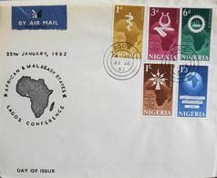 Enveloppe 1er Jour NIGERIA - Conférence Africaine Et Malgache à Lagos - Daté Lagos 25 Janvier 1962 - BE - Nigeria (1961-...)