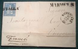 """""""MARMELS"""" Stpl Selten! + """"STALLA"""" (GRAUBÜNDEN GR) Sitzende Helvetia 1867 Brief (Schweiz Staudamm Barrage Dam - Storia Postale"""
