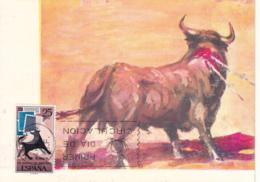 Spain1965 Maxicard Scott #1306 25c Bull, Symbolic Stamps International Stamp Day - Cartes Maximum