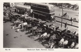 Calcutta India, Howrah Railway Train Station Hackney Cars Taxis Horse Carriages, C1930s/50s Vintage Real Photo Postcard - India