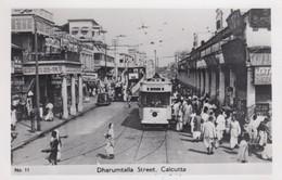 Calcutta India, Dharumtalla Street Scene, Street Car Trolley, Bus, C1930s/50s Vintage Real Photo Postcard - India