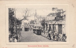 Calcutta India, Dharumtollah Street Scene, Street Car Trolley, Bus, C1930s/50s Vintage Real Photo Postcard - India