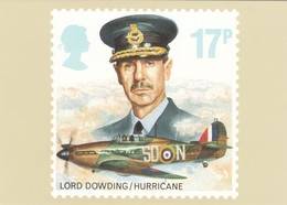 UK Stamp, 17p Lord Downding/Hurricane Issue Image, WWII Military Theme, C1980s Vintage Postcard - Stamps (pictures)