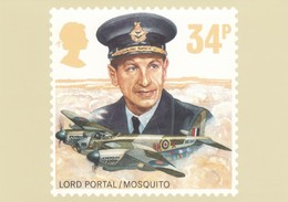 UK Stamp, 34p Lord Portal/Mosquito Issue Image, WWII Military Aviation Theme, C1980s Vintage Postcard - Stamps (pictures)