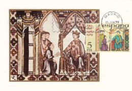 Spain1979 Maxicard Scott #2153 5p Messenger Handing Letter To King Stamp Day - Cartes Maximum