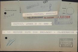 Guerre 40 Télégramme Suite Demande émigration Juif Vers Portugal Consul Portugal Marseille Mendes De Sousa Juste Censure - Marcophilie (Lettres)