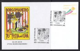 1.- ITALY 2018 SPECIAL POSTMARK FEST OF THE GRAPE - WINE - BORGOMANERO - Vinos Y Alcoholes