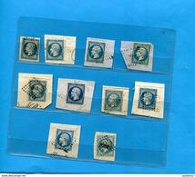 Timbres Napoléon III-N°14-  Lot De 10 Oblitérés Sur Fragments D'enveloppes-belles Marges-pour études Types Et Nuances - 1862 Napoleon III