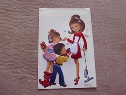 BELLE ILLUSTRATION ...CARTE BRODEE...ENFANTS ET MERE ?? SIGNE ALAIN - Brodées