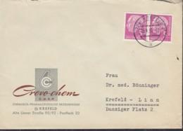 BRD 2x 179x MeF, Waagerechtes Paar Auf Orts-Brief Der Fa. Crevo-Chem, Stempel: Krefeld 29.1.1957 - Briefe U. Dokumente