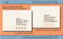 DDR SMHD 33, Neue Postanschrift 1987, Mit 10x 3156, Siegel - Markenheftchen