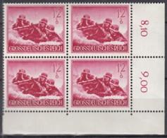 DR 879 X, 4erBlockmit Eckrand Ur, Postfrisch **, Tag Der Wehrmacht  1944 - Germany