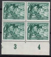 DR 684 X, 4erBlock Mit Unterrand, Postfrisch **, Volksabstimmung Sudetenland 1938 - Germany