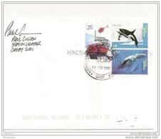 101 - 104 - Lettre Base Antarctique Australienne Casey 2001 - 2 Timbres Orque/baleine - Whales