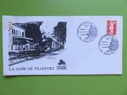 Enveloppe France - La Gare De Villefort - Lozère - 125ème Anniversaire De L'arrivée Du Train En Lozère - Marianne - Marcophilie (Lettres)