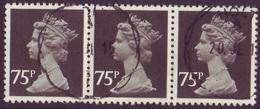 Horizontal Strip Of 3 Used 75p GB Machins  - SG X1023 - 1952-.... (Elizabeth II)