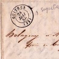 Lettre Guîtres 1850 Gironde Bordeaux Taxe Au Tampon - 1849-1876: Klassieke Periode