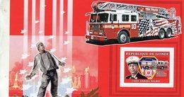 Republique De Guinée  -  9/11 Fire Truck  -  Chef Daniel Nigro   -  1v Sheet Neuf/Mint - Trucks