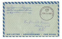 Marcophilie : Aérogramme Des Nations Unies Au Congo. Vers Suéde. 1961. Militaire. - Suède