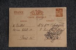 """Guerre 1939- 45 : Carte Postale IRIS Interzone , Datée Du 5 MARS 1941, Tampon """"INADMIS"""" Par La Censure, Mot En Rouge - Guerre 1939-45"""
