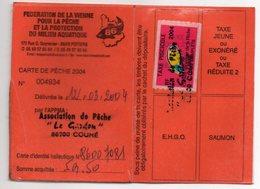 2004--Carte De Pêche Plastifiée Du Département 86 - Vignette Taxe Complète-cachet  COUHE-86 - Erinnophilie