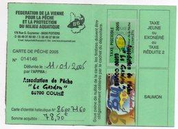 2005--Carte De Pêche Plastifiée Du Département 86 - Vignette Taxe Complète + EHGO--cachet  COUHE-86 - Erinnophilie