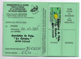 2005--Carte De Pêche Plastifiée Du Département 86 - Vignette Taxe Complète -cachet  COUHE-86 - Erinnophilie