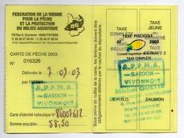 2003--Carte De Pêche Plastifiée Du Département 86 - Vignette Taxe Complète -cachet  VIVONNE-86 - Erinnophilie