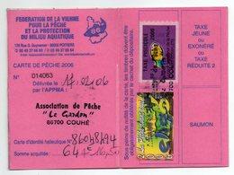 2006--Carte De Pêche Plastifiée Du Département 86 - Vignette Taxe Complète + EHGO  -cachet  COUHE-86 - Commemorative Labels