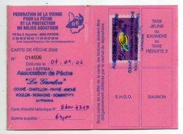 2006--Carte De Pêche Plastifiée Du Département 86 Vignette Taxe Complète  -cachet  COUHE-CHATILLON-PAYRE-ANCHE-VOULON-86 - Erinnophilie