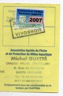 2007--Carte De Pêche Plastifiée Du Département 86 Vignette Taxe Complète -cachet  VIVONNE-86 - Erinnophilie