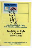 2007--Carte De Pêche Plastifiée Du Département 86 Vignette Taxe Complète -cachet  COUHE-86 - Erinnophilie
