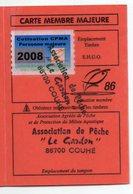 2008--Carte De Pêche Plastifiée Du Département 86 Vignette Taxe Complète -cachet  COUHE-86 - Erinnophilie