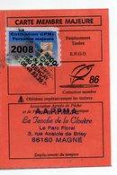 2008--Carte De Pêche Plastifiée Du Département 86 Vignette Taxe Complète -cachet  GENCAY --MAGNE--86 - Erinnophilie
